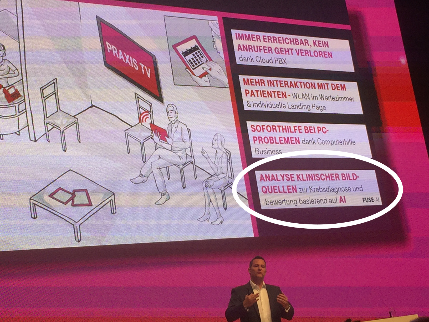 FUSE-AI had a market stand and was mentioned in the keynote by Thomas Spreitzer (SVP VSE Segment & Partner Sales, Deutsche Telekom AG).